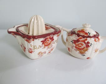 Vintage Juicer Tea Pot with Sugar Bowl - Reamer Citrus - Shabby Victorian Cottage