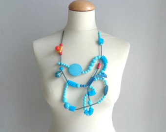 Turquoise necklace,  colorful rubber statement necklace, long turquoise jewelry