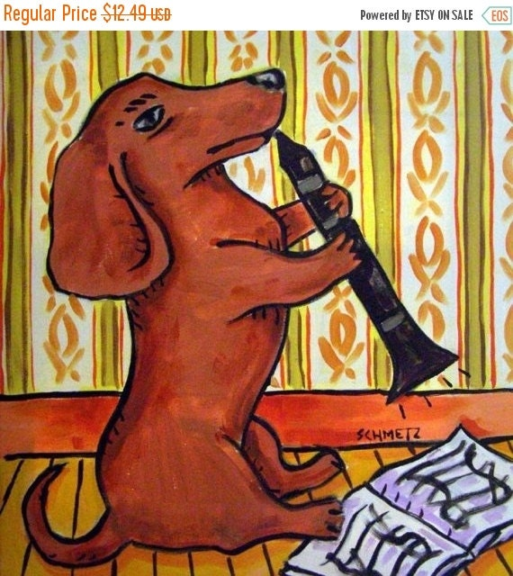 30 Off Dachshund Playing the Clarinet Dog Art Tile Coaster gift JSCHMETZ modern folk abstract pop art