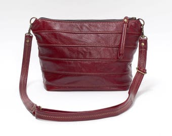 Cross Body Leather Purse in Burgundy Red Handbag