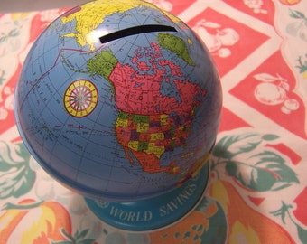 world savings tin metal globe bank