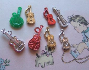 tiny novelty guitars and banjo charms