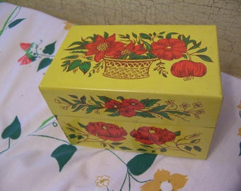 lovely vintage yellow recipe box