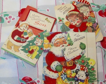 three darling vintage holiday cards