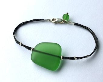 Seaglass bracelet Green Beachglass bracelet one of a kind graduation gift