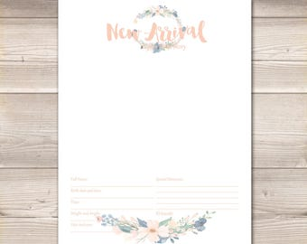 Watercolor Wreath Blush Navy Digital Baby Book Pages