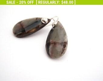 20% Off Sale Agate Dangle Earrings, Sterling Silver, Black, Brown, Gray, Teardrop Earrings