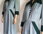 1940s Dress - Vintage 40s Forest Green Pointed Collar Rayon Dress