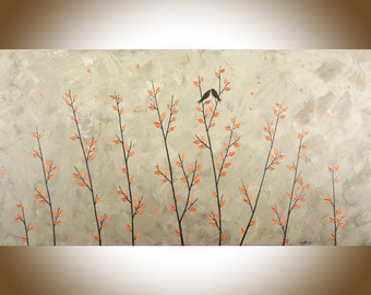 """Contemporary 48"""" large wall art copper art copper home decor brown grey canvas art love birds wall decor shabby chic by QiQigallery"""