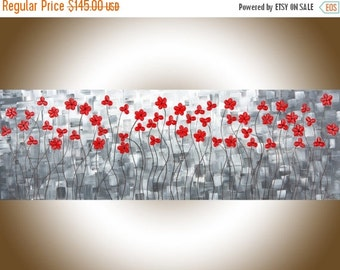 """Original oil painting red flower art black and white art wall art wall decor palette knife Canvas painting""""After the Rain II"""" by QIQIGallery"""