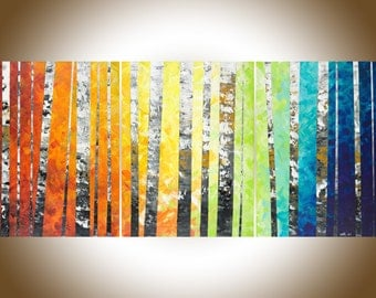 "54""Rainbow colour art Original oil painting Wall art wall decor painting on canvas ""Color of love"" by qiqigallery"