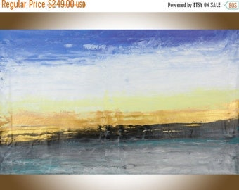 """Extra Large wall art 60"""" blue gold yellow black seascape abstract painting original artwork blue home decor """"Morning Sun"""" by QiQiGallery"""
