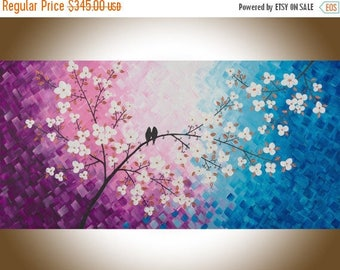 Love birds art extra large wall art blue purple Violet white flowers painting wall decor wall hanging qiqigallery
