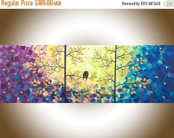 "Colourful modern art Original love birds painting blue Purple wall art wall decor Impasto acrylic Painting ""Autumn Romance"" by qiqigallery"