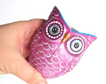 Plum Purple and gold hand painted Owl shaped votive candle holder