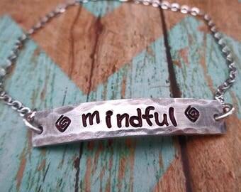 Mindful Bracelet - Silver Bar Bracelet - Mindful Bar -Mantra Affirmation Mindful Present Meditation- Your Word Bar Bracelet- B50
