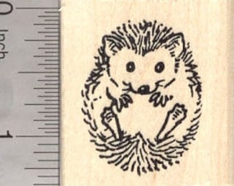 Small Hedgehog Rubber Stamp D7821 Wood Mounted
