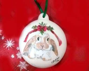 custom handpainted pet ornament, bisque ornament, furbaby ornament, Christmas ornament, dog ornament, rabbit ornament, porcelain ornament