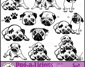 Pug-a-Licious Pug Dog Silhouettes Graphics set 8 INSTANT DOWNLOAD digital graphics with 12 dogs faces and paw prints
