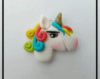 Unicorn Face Charm Pendant Polymer Clay Focal Bead