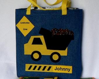 Dump Truck Tote Bag|Personalized Tote|Easter Gift|Construction Truck|Summer Book Bag|Preschool bag|Kindergarten Bag|Toddler Gift|Denim Bag