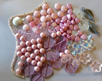 Mix of Assorted Vintage and New Beads to Play With - Pink Tones OOAK  (PA)
