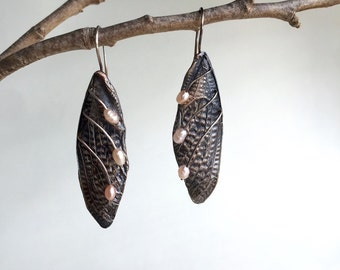 Cicada Wing Earrings with Pearls, Organic, Botanical, Art Nouveau, Handmade and Cast in my Austin Texas studio