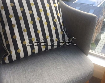 "3/4"" BLACK & White STRIPE with GOLD Metallic Polka Dot Quilt Fabric - by the Yard, Half Yard, or Fat Quarter Fq (Stripes are about 2cm wide)"
