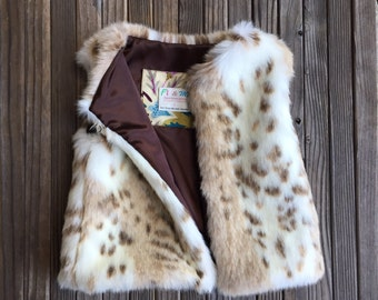 Faux Fur Snow Leopard Vest, Girl, Baby, Holiday, Fall, Fashion, Faux Fur, Vest, Leopard, Snow Leopard, Chocolate, Brown, Satin, Boutique