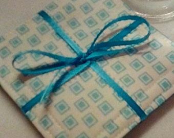 Mug Rug Set of 4, TURQUOISE Squares, Fabric Coasters, Handmade, Hostess Gift, FREE Shipping in USet