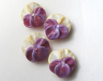 PANSY Beads,Lampwork Beads handmade floral supplies for jewelry or embellishment, viola bead