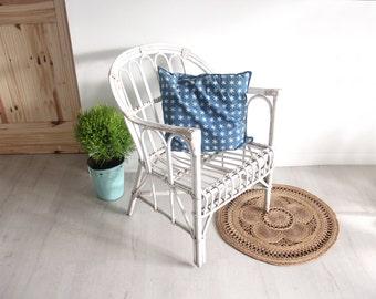 Italian Franco Albini Style Modern White Rattan Chair