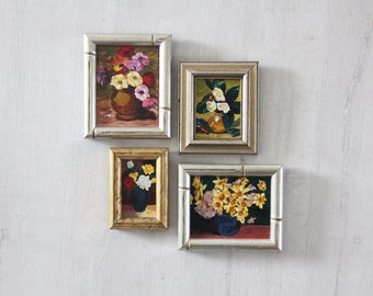 Collection of 4 Original Oil Paintings. Signed by Artist.  Handmade Frames