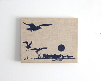 Graphic Marushka Bird Seagull Silkscreen Print Wall Hanging