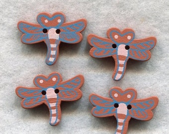 SALE Dragonfly Wood Buttons Brown Wooden Buttons 20mm (3/4 inch) Set of 8 /BT250B