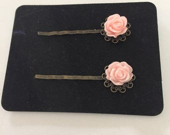 Pink Flower Hair clips - Bobby Pins