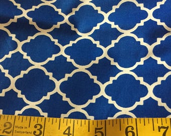 One Yard of Dark Blue Quatrefoil Fabric
