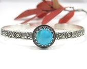 Custom Turquoise Cuff Bracelet - Sterling Silver Sleeping Beauty Turquoise cuff bracelet