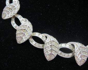 Art Deco Necklace - Pennino Rhinestone Bridal Necklace, Leaves