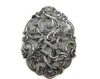 Silver Scrollwork Brooch Pendant - Hand Crafted, Antique Estate Jewelry