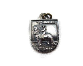 Silver Bracelet Charm - RCMP Canadian Mounties Pendant, Silver Plated Shield Canada Souvenir