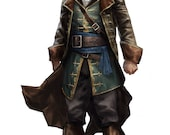 Custom Made Leather Assassins Creed Renaissance Pirate frock coat and vest with full trim detailing
