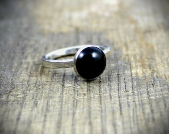 READY TO SHIP - Sterling Black Onyx Stacker Ring - Size 7.5