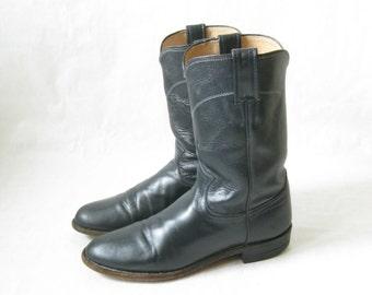 Vintage JUSTIN Navy Roper Cowboy Boots. Size 8 Women's