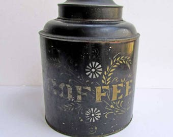 Antique Victorian Tole Tin Counter Top Coffee Canister, Container with Original Japan Finish and Stencil Decoration in Gold and Silver