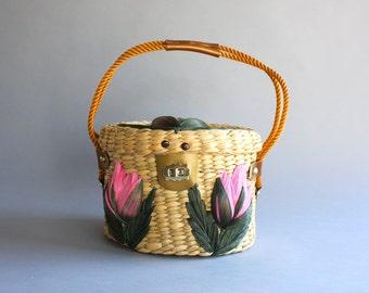 1960s Straw Purse / Vintage 60s Floral Straw Bag / Vintage Wicker Basket Bag