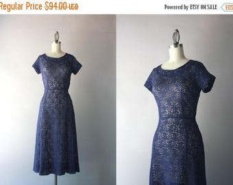 STOREWIDE SALE 1940s Lace Dress / Vintage 40s Navy Cotton Lace Dress / Rhinestone Studded Sheer Lace Forties Dress