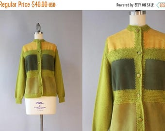 STOREWIDE SALE 1960s Cardigan / Vintage 60s Suede and Wool Italian Cardigan Sweater / Sixties Chartreuse Patchwork Cardigan