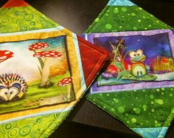 Frog and Hedgehog Potholder Set of 2