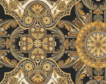 Valley of the Kings Black Gold Kaufman Fabric 1 yard